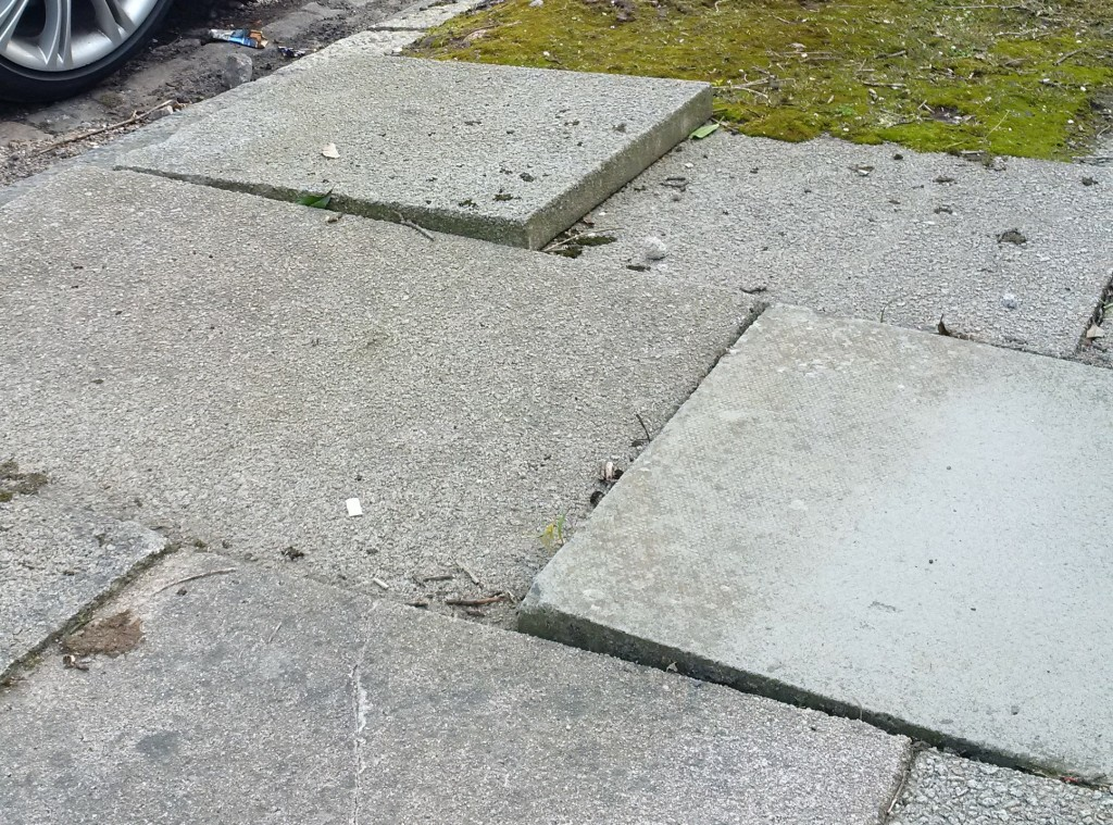 Photo of uneven paving stones