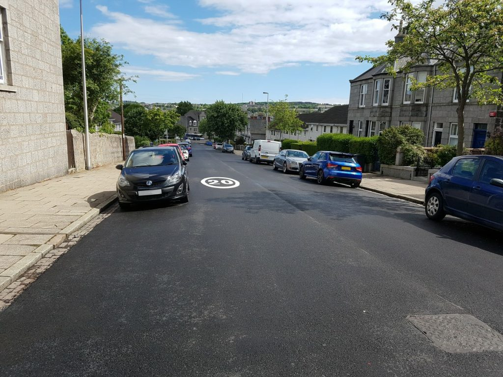 Photo of resurfaced area of Abergeldie Road