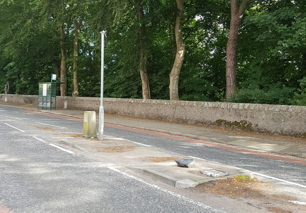 Photo of damaged pedestrian island at Garthdee Road