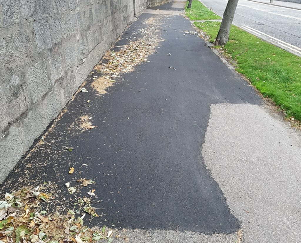 Photo of repaired pavement of Springfield Road