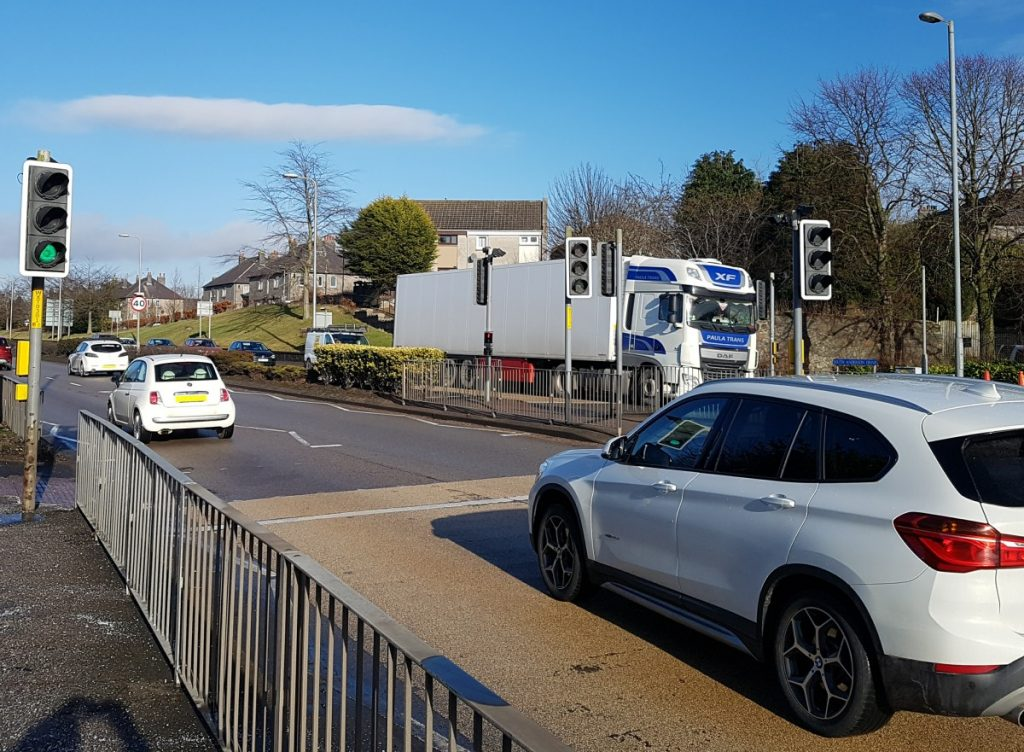 Photo of pedesrrian crossing uphill from Garthdee roundabout